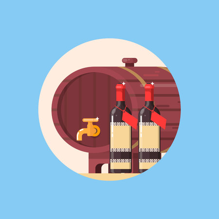 Wine barrel with bottle of wine isolated in circle. Vector illustration
