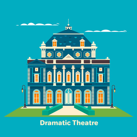 Grand theatre or theatre. Building for entertainment. Great for landmark and culture leisure, performance theme. Vector illustrator