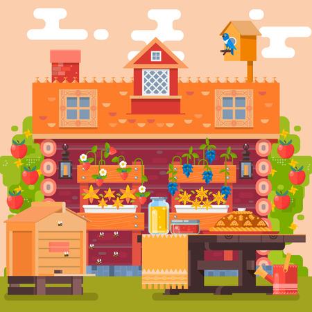 Spring and summer in village garden. Countryside. Flowers, fruits, vegetables. Vector illustration Illustration