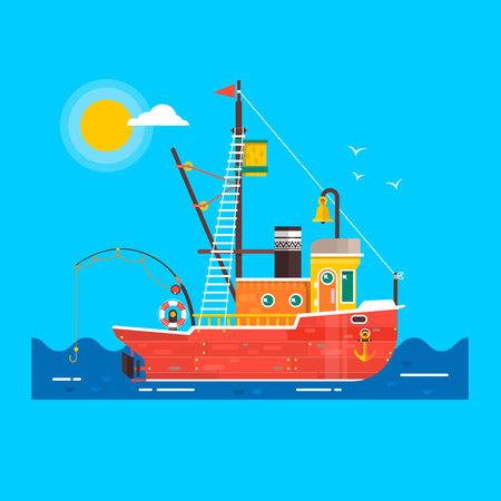 Cool flat design fishing boat seaway transportation .Fishing vessel decorative graphic design element. Vector illustration