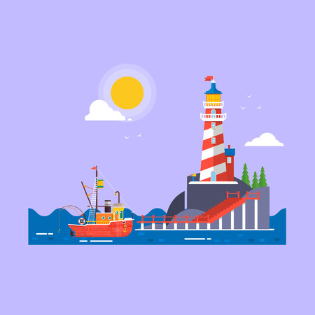 Cool flat design fishing boat seaway transportation.Lighthouse on rock stones island cartoon vector background. Vector illustration