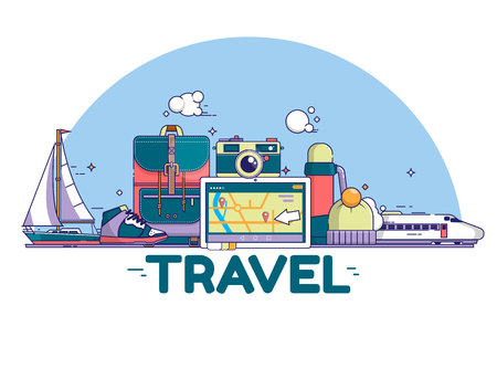 Travel concept illustration. Signs and icons on white background. Vector illustration
