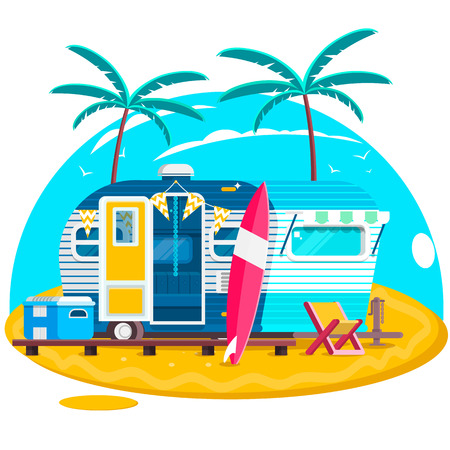 Tropical sunset. Travel Trailer Caravans. Surfing trailer with boards for surfing on a beach. Vector illustration Illustration