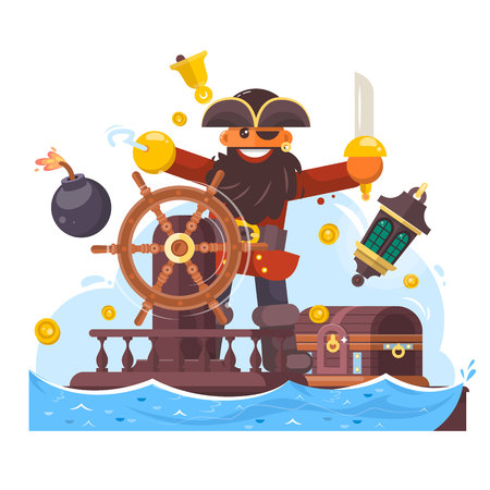 silver coins: Cartoon pirate with sword and hook on ship. Vector illustration Illustration