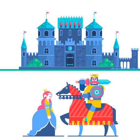 Fairytale castle. Characters Prince and Knight. Vector Illustrations