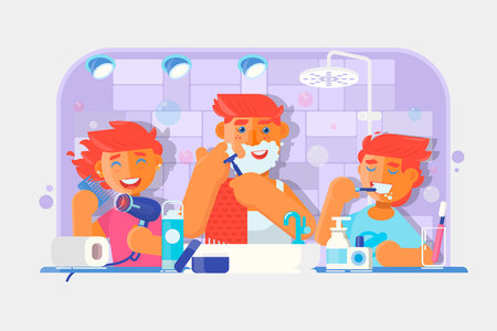 Young family. Boy brushing his teeth, Man shaving his face, Little girl combing her hair in the bathroom. Flat Vector illustration