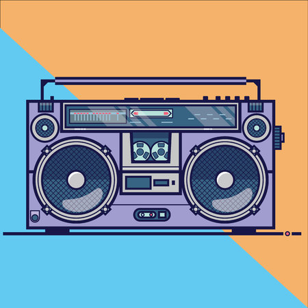 Line flat vector icon with retro electrical audio device boombox. Vector illustration