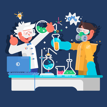 Laboratory assistants work in scientific medical chemical or biological laboratory. Vector illustration