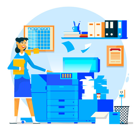 Business woman using copy machine or printing machine with stacked pile of file documents in flat style vector illustration.