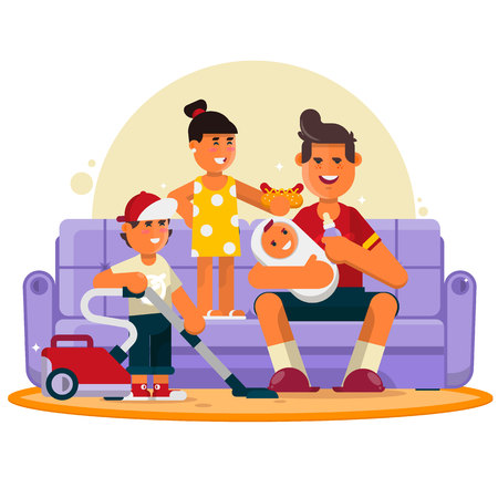 Happy family. Great father spend time with children. Flat vector illustration