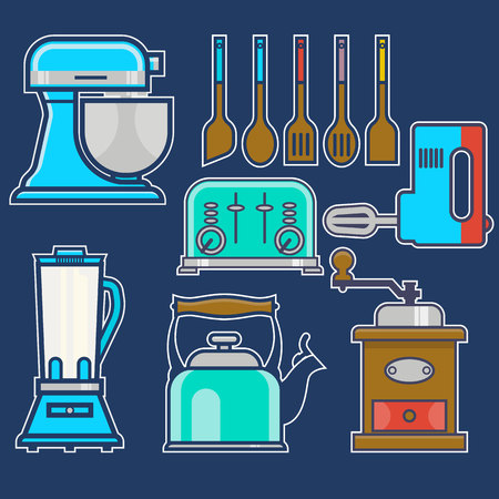 Kitchen and cooking vintage elements.Vector set of kitchenware kitchen unit, kettle, coffee mill, mixer, liquidizer, toaster. Line art.