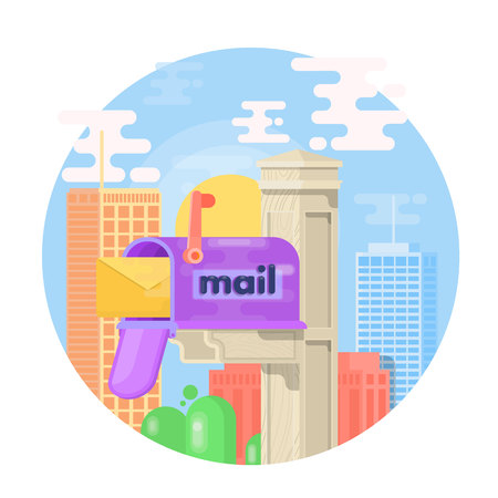 post office building: Open mail box with an envelope on the cover isolated from background. Mail box vector illustration in the flat style