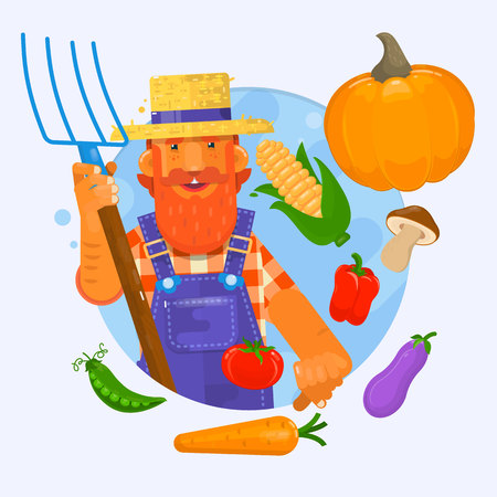Illustration of a farmer holding a garden fork wearing hat with vegetables. Vector illustration