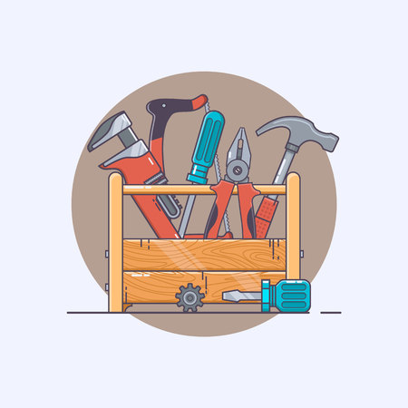 Box with tools. Pliers and hammer, screwdriver and saw. Line art collection of stock vector clipart. Illustration