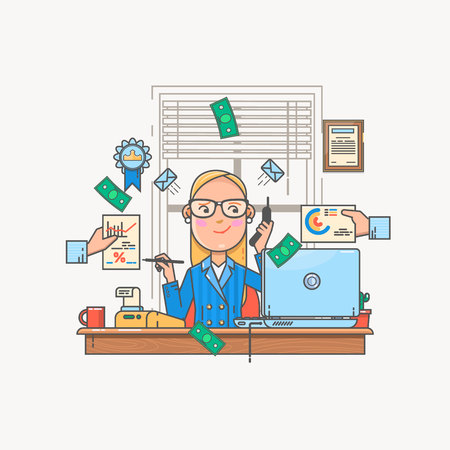 bookkeeper: Businesswoman working and analyzing financial statistics. Data analysis concept.