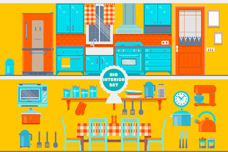 Retro kitchen interior with furniture, utensils, food and devices. Including fridge, oven, microwave, kettle, pot. Flat vector illustration