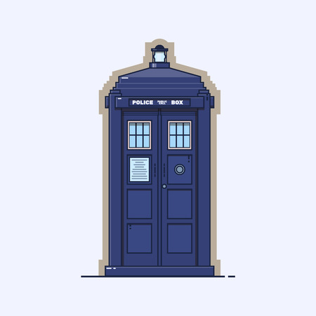 Traditional British police box. A Blue Police Telephone Box Isolated on White Background