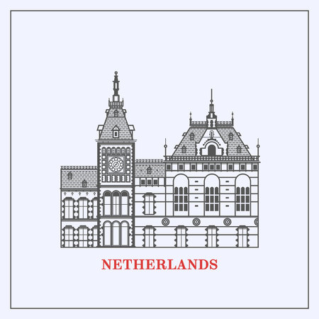 Amsterdam Central Station Clock Tower.Amsterdam buildings skyline. Flat line set of architecture of Netherlands. Template for tourist guides and books, banners, flyers, graphic and web design.