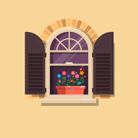Vector window with brown shutters and flower pots on a brick wall.Cute summer illustration.