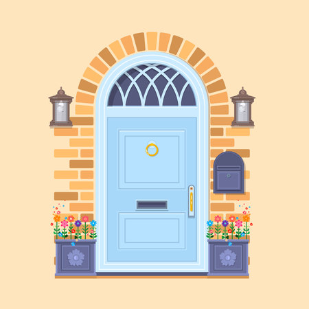 Blue front door on the yellow brick wall with two pots with plants and lanterns. Vector building element. Cartoon house illustration Illustration
