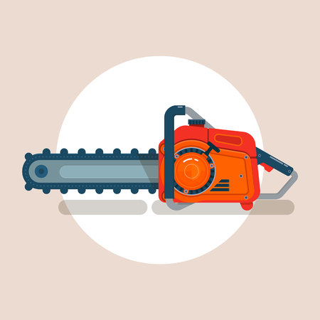 Chainsaw icon, chain saw vector pictogram, icon isolated on white, flat vector illustration Illustration