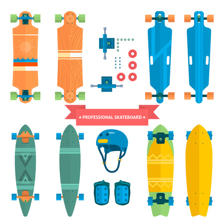 Professional skateboard collection, flat vector skateboard. Skateboard from all sides, extreme. Protection Gear.