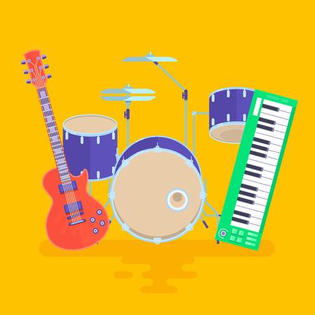 Musical Instruments Set Guitar Drums Rock Band Vector Illustration.