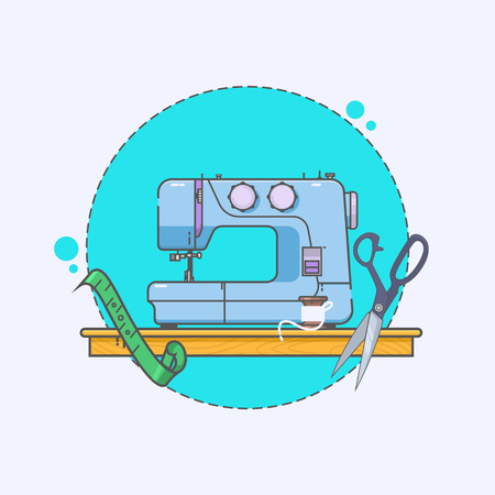antique factory: Sewing Machine Logo - vector symbol or icon Illustration
