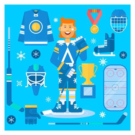 Vector Geïsoleerde hockey uniforme uitrusting en atleet. Apparatuur en accessoires voor hockeykleding.