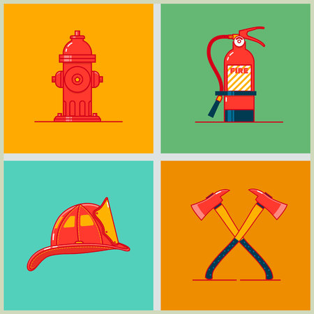 Firefighting equipment and firefighters profession set icons. Flame protection thin linear pictogram. Vector illustration