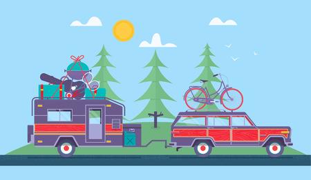 Road trip concept Illustration