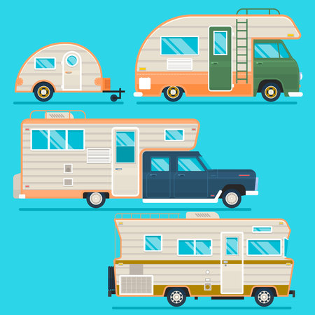 Retro camper trailer collection.Set of recolored traveler truck campers in flat style isolated on blue. Flat vector illustration Ilustração