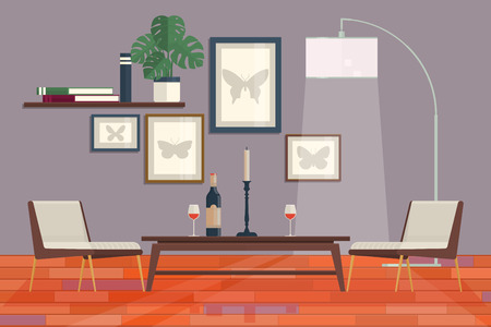 living room sofa: Cool graphic living room interior design with furniture bookcase, table, lamps.