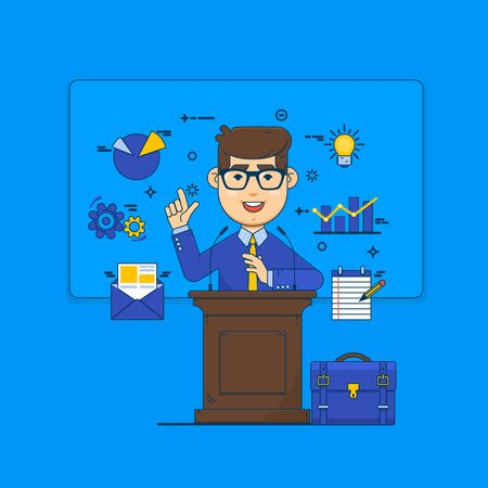 multimedia icons: Successful businessman giving a speech at podium.Public speaking concept. Flat vector illustration