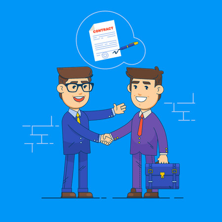 Businessmen shake hands and signing contract, business concept agreement and cooperation