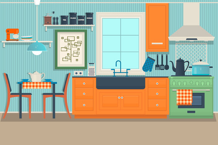 appliance: Modern cozy kitchen interior with dining area Illustration