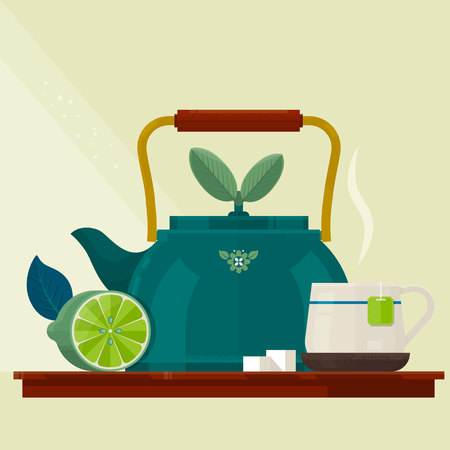 Tea time.Card with a Cup of Tea, Kettle and Lemon.Isolated vector objects.