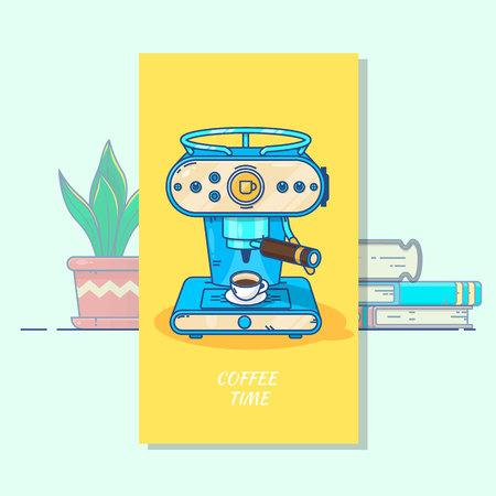 뜨거운 커피 한잔과 함께 커피 기계입니다.
