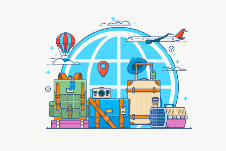 illustration of travel. Globe with pin, camera, suitcase. backpack, air balloon, bags of coffee and the plane in the clouds.Vector illustration in flat linear style
