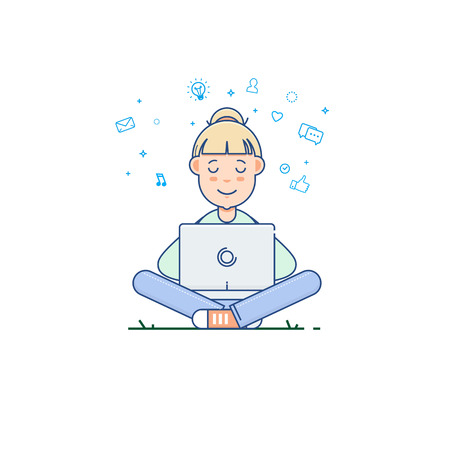 Young woman sitting in the park on the grass and working with laptop.Vector illustration in flat linear style Illustration