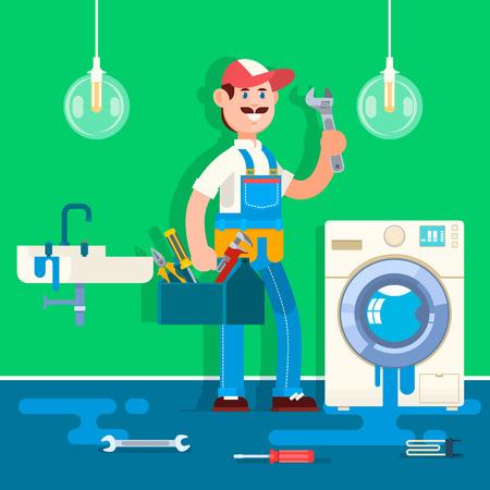 Plumber repairing pipe on bathroom. Vector illustration