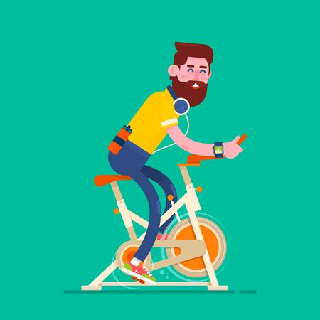 Hombre que ejercita en bike inmóvil. Muchacho en Bicycle Simulator. Diseño de la aptitud sobre el fondo beige, ilustración del vector.