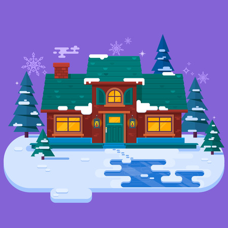 House with winter snow background.