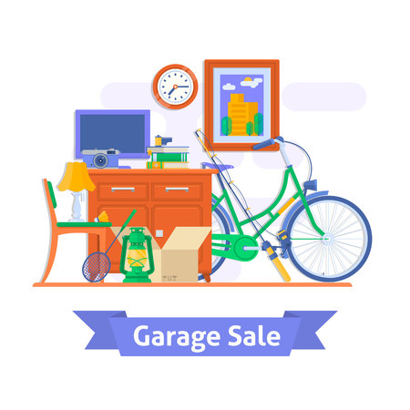 Sale items, Preparing a Garage. Things from home. Flat style vector illustration.