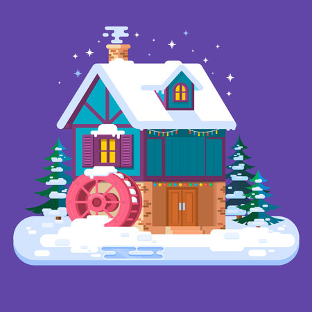 Old water mill in winter.Merry Christmas and Happy New Year card with winter house.Flat style vector illustration.