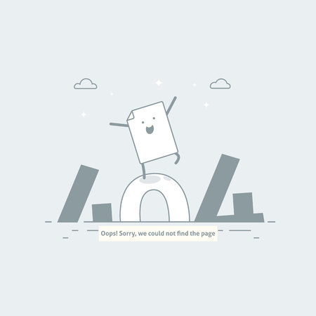 Design 404 error. Page is lost and not found message. Template for web page with 404 error. Modern line design.