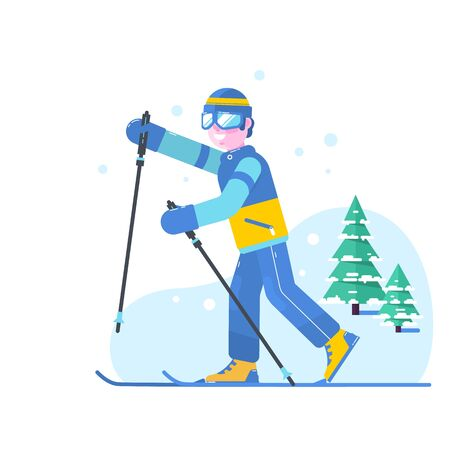 People skiing flat style design. Skis isolated, skier and snow, cross country skiing, winter sport, season and mountain Stock Photo