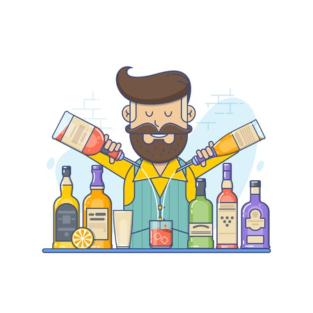 Hipster caucasian bartender with beard standing at the bar counter. Bartender with bottle in hands. Flat vector illustration