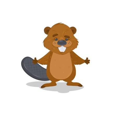 Illustration of a beaver on a white background. Vector cartoon illustration