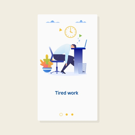 Tired Sleeping Businessman at Work.Work overtime. Modern vector illustration. Stock Vector - 92241193